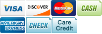 We accept Visa, Discover, MasterCard, Cash, American Express, Check and CareCredit.